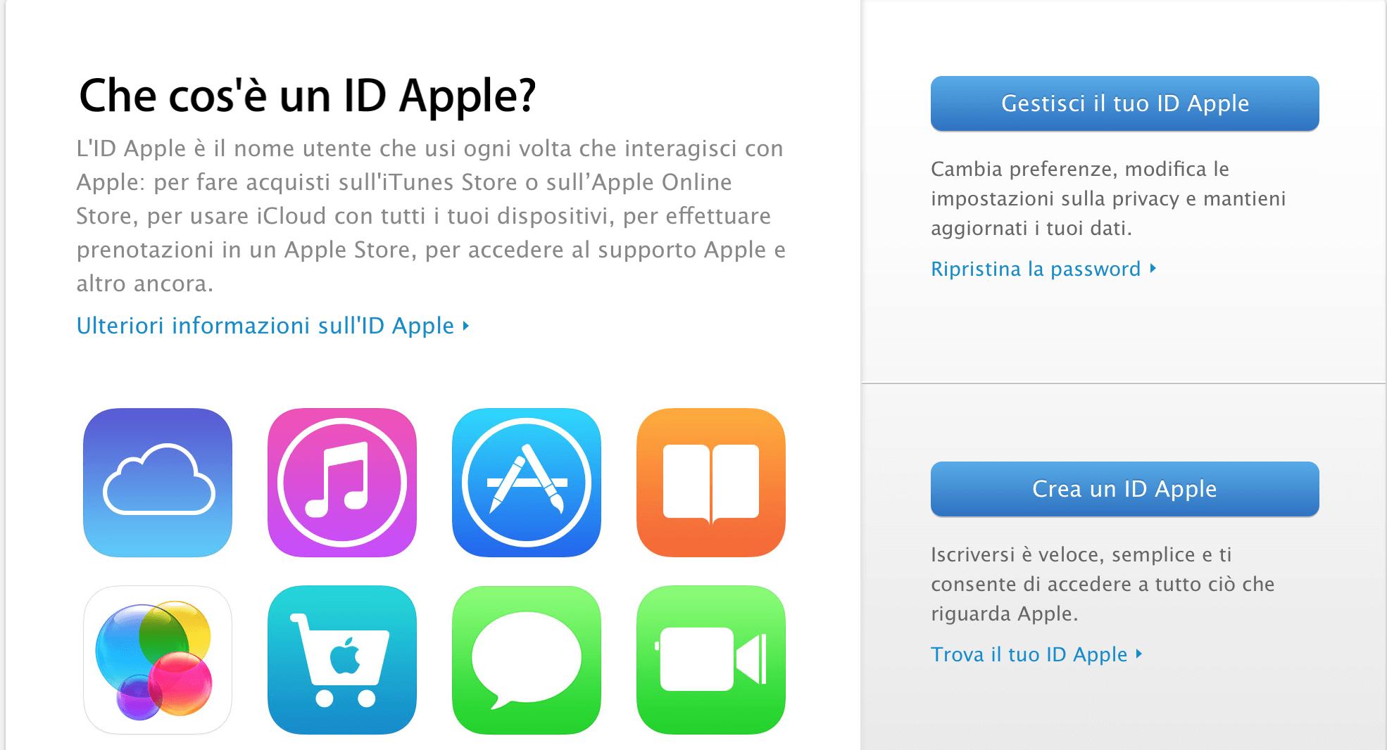Creare un account ID Apple senza carta di credito