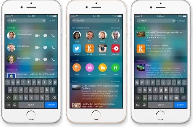 Disattivare Notizie e contatti Spotlight iOS 9