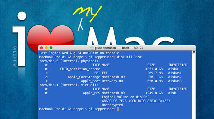 MacOS, eliminare partizione da Terminale