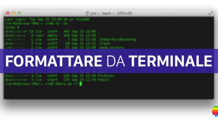 Formattare, inizializzare Disco su Mac dal Terminale