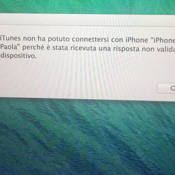 Sierra iOS 10 - Errore iTunes risposta non valida dal dispositivo iPhone e iPad