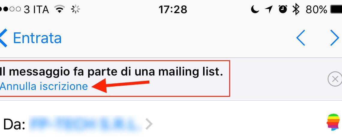 Cancellare, annullare iscrizione Mailing list da iPhone e iPad