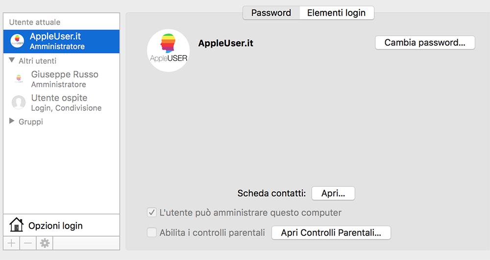 Creare utente amministratore su Mac OS