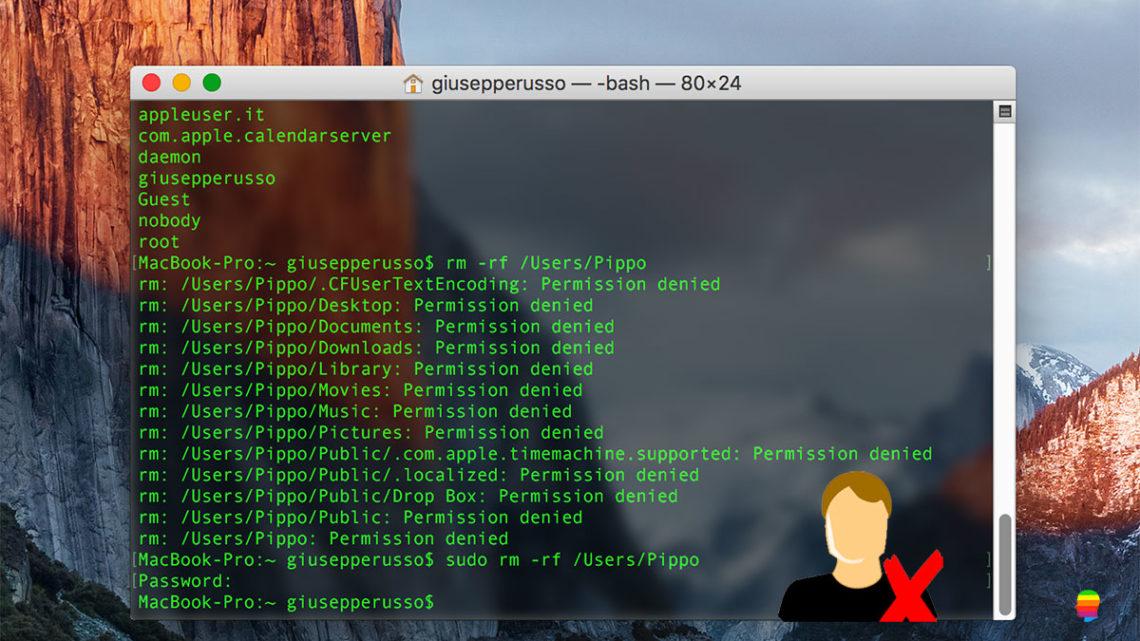 Cancellare, eliminare Utente da Terminale su mac OS