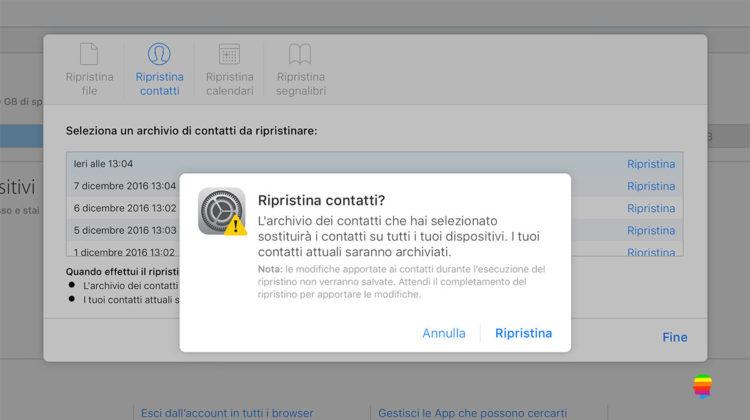 Ripristinare, recuperare Contatti iCloud cancellati su iPhone, iPad e mac OS