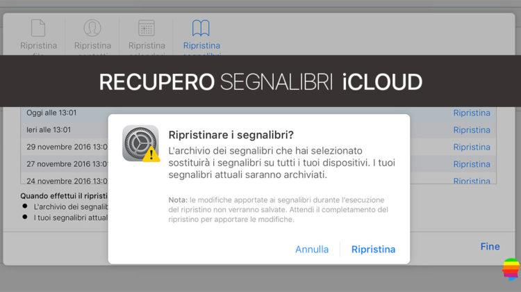 Recuperare Segnalibri, preferiti iCloud di Safari
