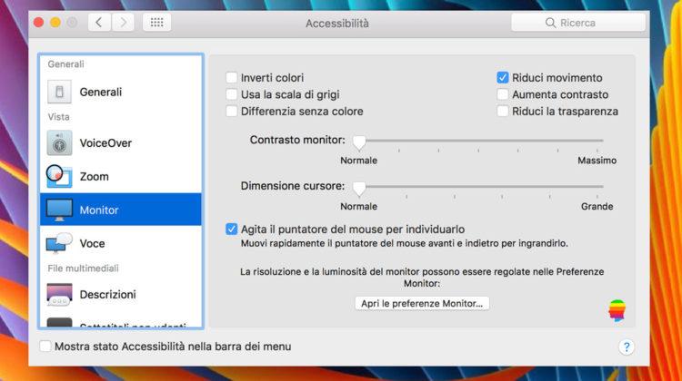 Ridurre le Animazioni interfaccia su mac OS