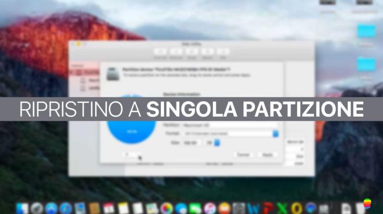 Boot Camp non ripristina Disco in Singola Partizione su mac OS