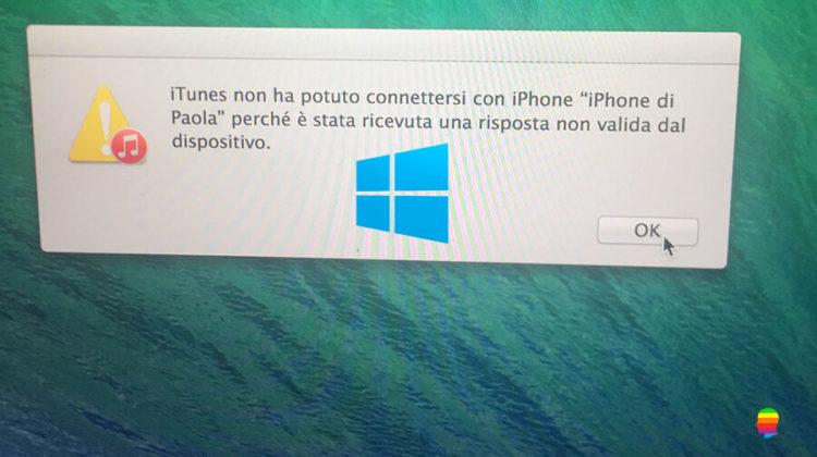 Windows - Errore iTunes risposta non valida dal dispositivo iPhone e iPad