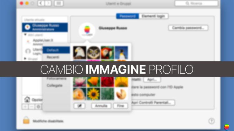 Cambiare immagine profilo Utente su mac OS