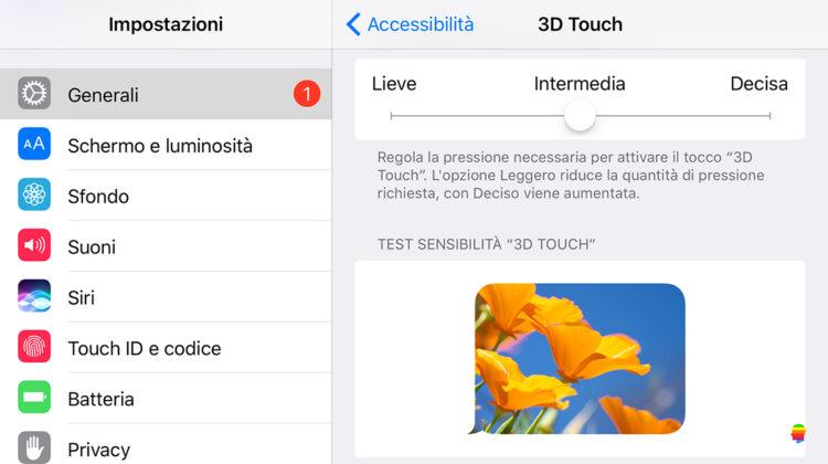 Disattivare o abilitare il 3D Touch su iPhone