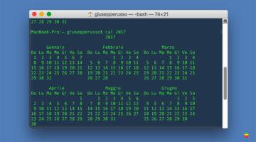 Visualizzare il calendario riga di comando nel Terminale su mac OS