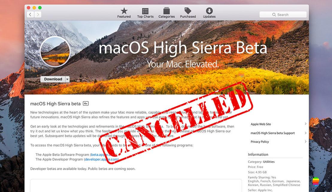 Non ricevere aggiornamenti beta di macOS High Sierra