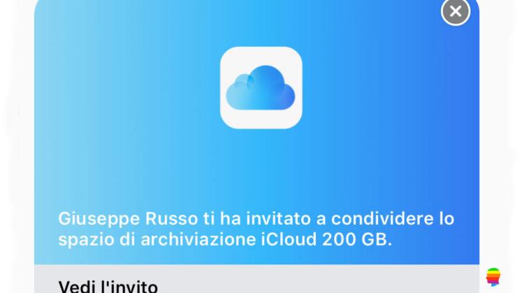 iOS 11, Condividere spazio iCloud con la Famiglia