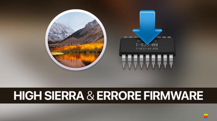 Soluzione, errore Firmware Installazione High Sierra su SSD o disco esterno