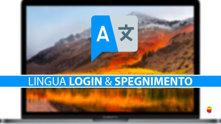 Schermata Login e spegnimento di macOS in inglese