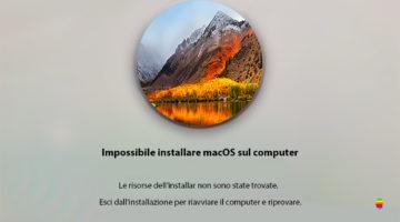 Risorse installer non trovate, impossibile installare macOS sul computer
