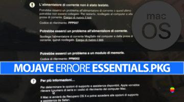 Soluzione Errore Essentials.pkg installazione Mojave su Mac