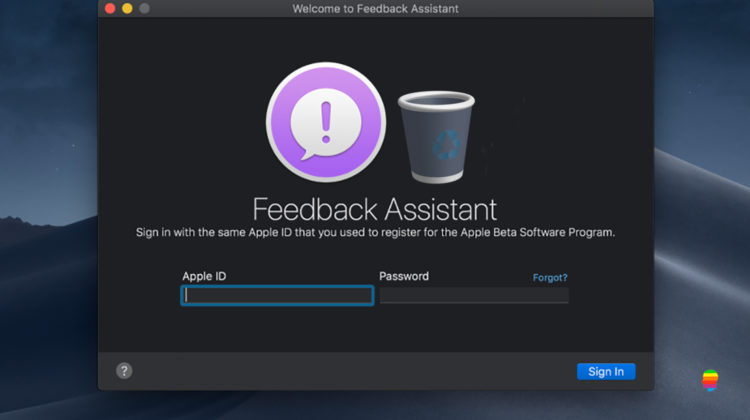 macOS Mojave, Eliminare applicazione Feedback Assistant