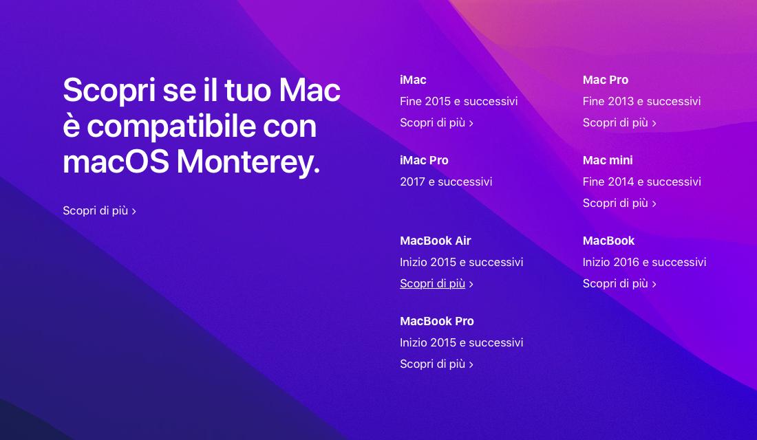 macOS 12 Monterey, Lista dei Mac compatibili
